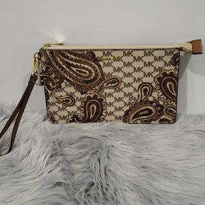 Michael Kors clutch with paisley design